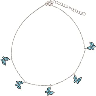 Alwan-Accessories Silver Long Size Anklet with Butterflies for Women - EE5249BUTTLS