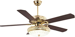 RainierLight Modern Ceiling Fan Lamp LED 3 Changing Light 5 Reversible Blades Crystal Glass Frosted Lampshade with Remote Control for Indoor 52-Inch Mute Energy Saving Fan (Wood Blades)