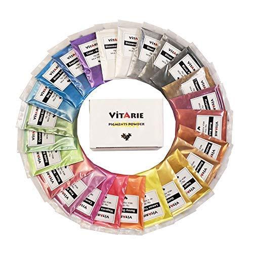VITARIE mica Pigment (25 Farben 10g / 0,35 unzen pro stück) ultimative Huge Pigment-Puder-Set metallic-Effekt für die epoxy-Harz-farbpigment - seifenherstellung kit
