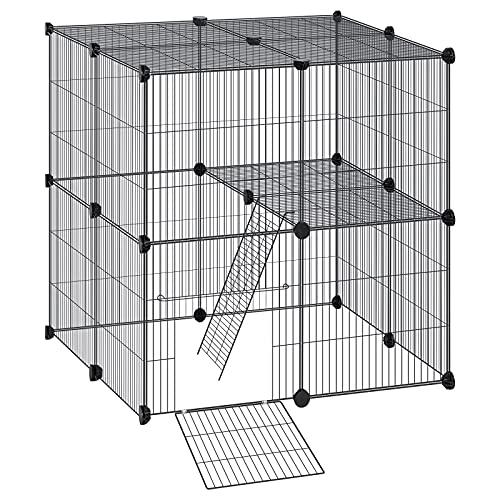 EUGAD Recinto per Conigli Criceti Cucciolo Porcellino d'India Cavie Gatto Gabbie per piccoli animali con porta & scala Metallico DIY 22 Pannelli Nero 75 x 83 x 35 cm 0011WL