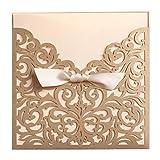 wishmade 50Count cuadrado cortado a láser invitaciones tarjetas Kits dorado para bodas cumpleaños ducha con cinta sobres imprimible Beige Tri Fold papel