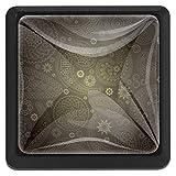 Dunkelgraues Paisley Schubladenknöpfe Hardware Quadrat Schubladengriffe Kristallglas für Küchenschrank Kommode Schrank Kleiderschrank Türgriff (3 Stück) 37x25x17mm