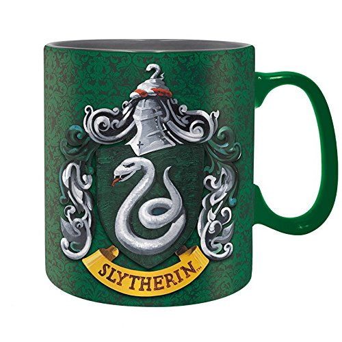 Harry Potter - Keramik Tasse Riesentasse 460 ml - Slytherin - Wappen Logo - Geschenkbox