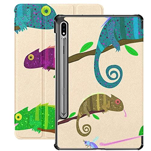 Cute Funny Chameleon Lizard Carcasa de Dibujos Animados Samsung Galaxy S7 para Samsung Galaxy Tab S7 / s7 Plus Fundas para tabletas Cubierta Trasera con Soporte Funda Galaxy Tab E para Gala