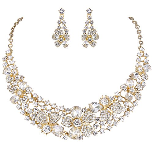 EVER FAITH Set Gioielli Donna, Austriaco Cristallo Elegante Sposa Primavera Fiore Collana Orecchini Set Trasparente Oro-Fondo