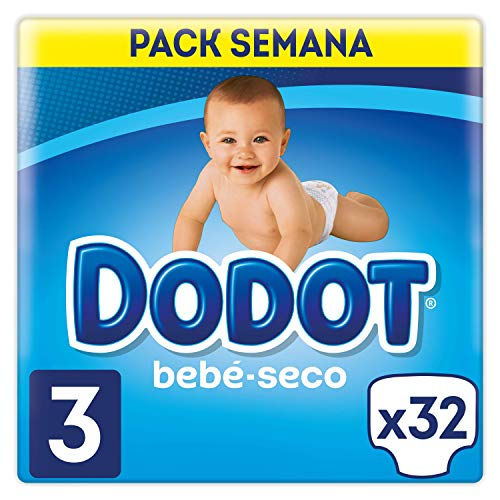 Dodot Bebé-Seco Pañales Talla 3, 32 Pañales, El Unico Pañal Con Canales De Aire, 6 a 10 kg