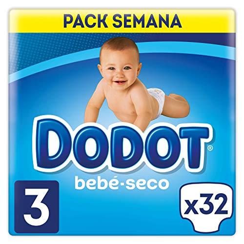 Dodot Bebé-Seco Pañales Talla 3, 32 Pañales, El Unico Pa