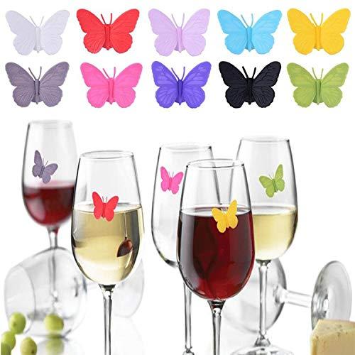 YouU Segna Bicchieri Drink Wings Set di 10 unità Segnabicchieri Ideale per riunioni, Feste e celebrazioni Silicone