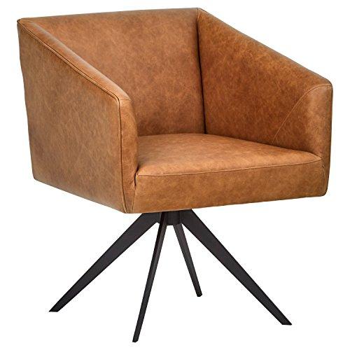 Marca Amazon -Rivet Vibe - Silla de escritorio de cuero con sistema giratorio, 64 cm de ancho (marrón)