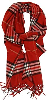 SethRoberts-Classic Cashmere Feel Men s Winter Scarf in Rich Plaids  Red
