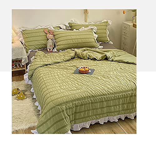 YUTRD ZCJUX. Massivfarbe Komfortable Seersucker Cool Gefühl Sommer Steppdecke Grün Weiß Rosa dünner Bettdecke Drucken mit Spitze gesteppt (Color : Green, Size : 200x230CM)