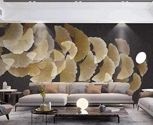 ZZXIAO Tapete Abstract Ginkgo Leaf Retro Vlies Tapete Wanddekoration Wandbilder Wohnzimmer wandpapier fototapete 3d effekt tapete Wohnzimmer Schlafzimmer Hintergrundbild-350cm×256cm