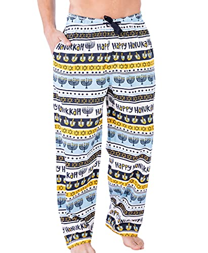 Lazy One Animal Pajama Pants for Men, Men's Separate Bottoms, Lounge Pants, Menorah, Dreidel, Holiday, Star of David (Hanukkah, Large)