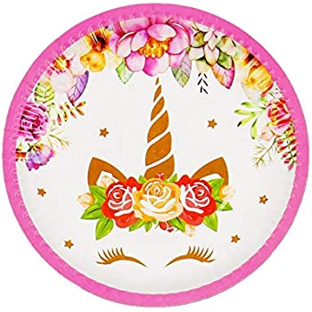 Partysanthe Unicorn Theme Printed Round Disposable Plates for Theme Birthday Parties (Medium) - Pack of 10