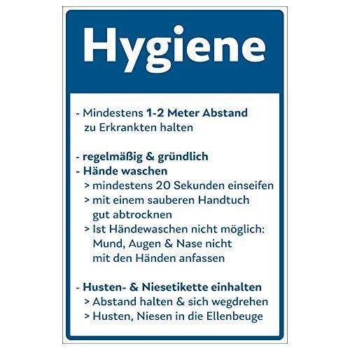 Hinweis-Schild 300x200 mm - Hygiene-Vorschriften gegen das Corona-Virus (COVID-19), aus Alu/Dibond 300x200 mm - 3 mm stark