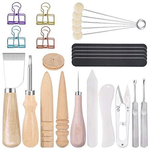 Tundi 25 Stücke Leder Werkzeug Set, Leder DIY Werkzeuge, Leder DIY Set Enthalten Leder Messer, Leder Kantenschneider, Rand Slicker, Wolle Dauber für Leder Handwerk DIY