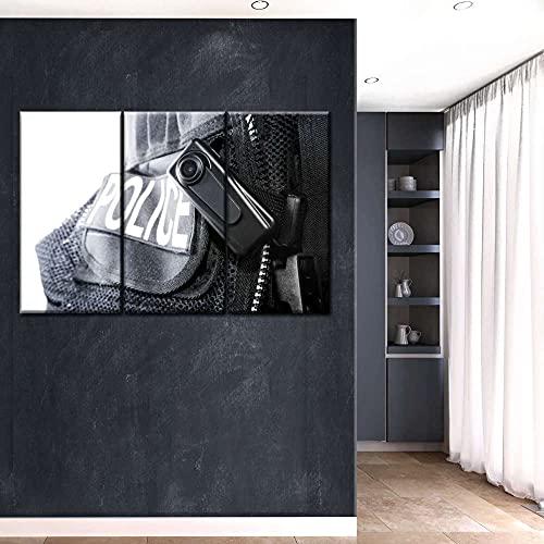 AWER 3 piezas de lienzo de arte de pared Cámara del cuerpo de la policía Imágenes Póster Impresión En Hd Estilo Abstracto Cuadro decoración Estilo Piasaje Regalo marco de madera 3 Piezas