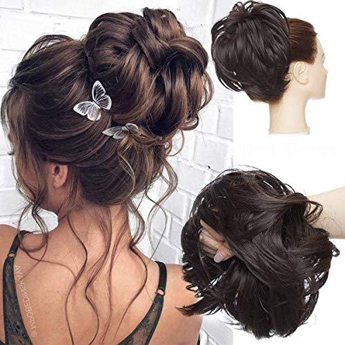 Tousled Updo Messy Bun Haarteil Haargummis Haarverlängerung Pferdeschwanz mit elastischen Haarteil Hair Extensions für Frauen Dunkelbraun