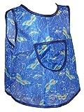 Kinderschürze hinten zum knöpfen Dederon Malschürze Jungenschürze blau versch. Muster, Größe:110/116, Farbe:blau mit Schmetterling