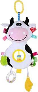 Plush Cartoon Animal Abacus Beads Cow Doll Hand Stick Baby Toy Hung Pendant Children's Gift Teether Plush Ring Rattle