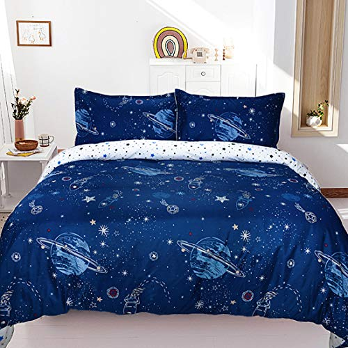 USTIDE Lightweight Quilt Cover Kids Duvet Cover Space Print Reversible Duvet Cover Skin-friendly Dreamful and Soft Quilt Cover Girls Boys Quilt Cover with Pillowcase Single Size