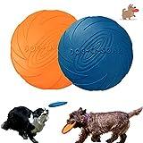 Frisbee per cani, disco per cani, 2 pezzi di frisbee giocattolo per cani, frisbee di gomma, utilizzati per terra e acqua, sport all'aria aperta, parchi e giocattoli per bambini (blu + arancione)