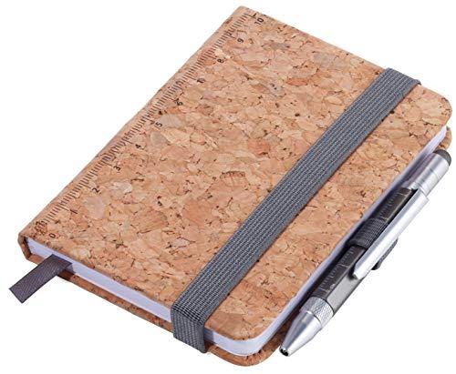 TROIKA LILIPAD+LILIPUT CORK – NPP25/CK – Notizblock DIN A7 inkl. Kugelschreiber – Elastikband, Stiftschlaufe, Lesezeichen – gedrucktes Lineal (10 cm) – FSC-Papier, perforiert (128 Seiten), Punktraster