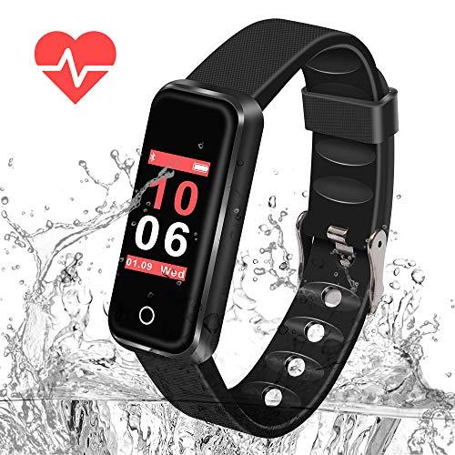 Naker Store reloj inteligente, presión arterial, monitor de sueño, podómetro, deportes al aire libre, rastreador de fitness, IP67 resistente al agua, compatible con sistemas Android e iOS, color negro