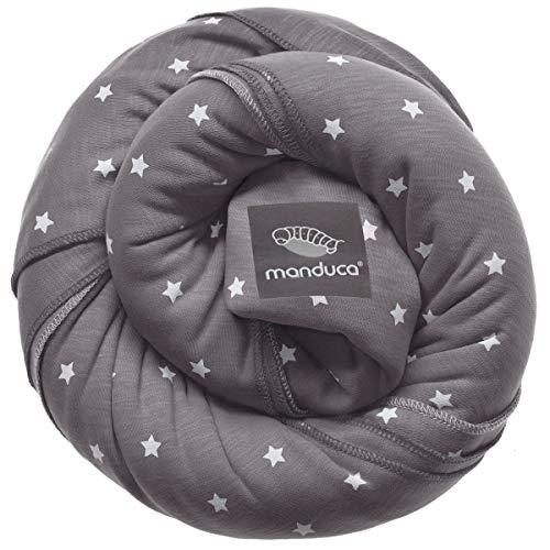 manduca Sling > Elastisches Babytragetuch mit GOTS Zertifikat < für Neugeborene ab Geburt (LittleStars slate, 5,10m x 0,60m)