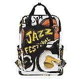 ZOMOY Mochilas,Jazz Festival Arte Abstracto Saxofonista,Nuevo portátil Informal Ligero Mochila de Lona Colegio Viaje Bolsa de Hombro Camping Escalada Senderismo Bolsas