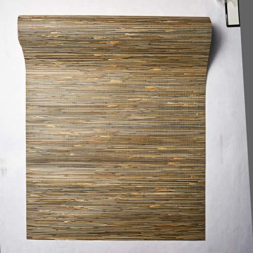 York Wallcoverings NZ0786 Grasscloth Wallpaper by River Grass, Black, Cream, Beige, Khaki, Tan