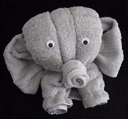 Elefant als Handtuch-Tier in silbergrau, Handtuchfigur
