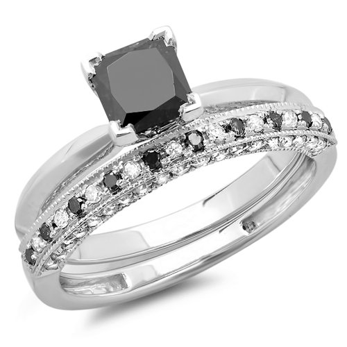 Dazzlingrock Collection 1.50 Carat (ctw) 10K Princess Cut Black & Round White Diamond Ladies Bridal Solitaire Engagement Ring With Matching Millgrain Wedding Band Set 1 1/2 CT, White Gold, Size 7.5