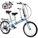 DYWOZDP Bicicletta Pieghevole in Tandem per Adulti Bambini, Bici Pieghevoli A 2 Posti, Auto Turistica da Viaggio in Acciaio Ad Alto Contenuto di Carbonio, Carico: 100 kg, 20 Pollici,Blu