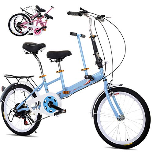 DYWOZDP Tandem Klappräder Travel Faltrad, Klappbar Tandem Fahrrad Family Fahrrad 2-Sitzer, Zusammenklappbar City Tandem Fahrrad, Last: 100 Kg, 20 Zoll,Blau