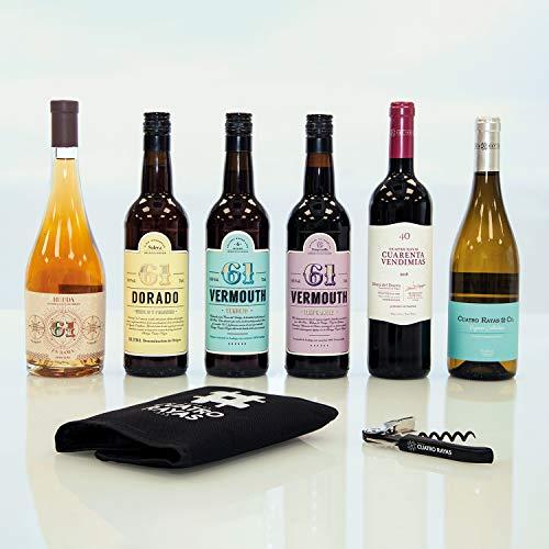 Smartbox - Caja Regalo - Bodega Cuatro Rayas: Lote con 4 Botellas de Vino, 2 de Vermouth y 2 obsequios de Regalo - Ideas Regalos Originales