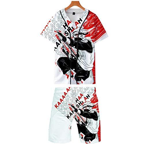 Naruto Baseball T-Shirts und Strandshorts Set Sommer Japanische Anime 3D Digitaldruck Tops mit Knopf und Kurze Hose Anzug Oberteile Sport Hemd + Badehose Set Uchiha Sharingan Hokage Ninja