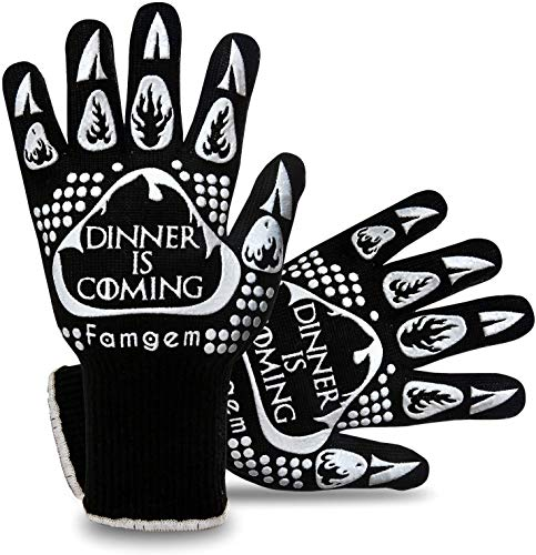 Famgem Grill Gloves Oven Mitts Kitchen 932F Extreme Heat Resistant for BBQ/Baking 1Pairs