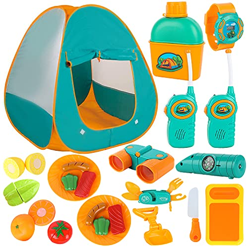 ToyVelt Kids Camping Tent Set -Includes Tent  Telescope  2 Walkie Talkies  and Full Camping Gear Set Indoor and Outdoor Toy - Best Present for 3 4 5 6 Year Old Boys and Girls and Up. Updated Version
