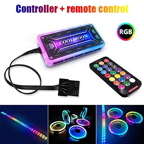Fxhan RGB-PC-Lüfter 12V 6 Pin 12cm Kühler Lüfter mit Controller für Computer Silent Gaming Case