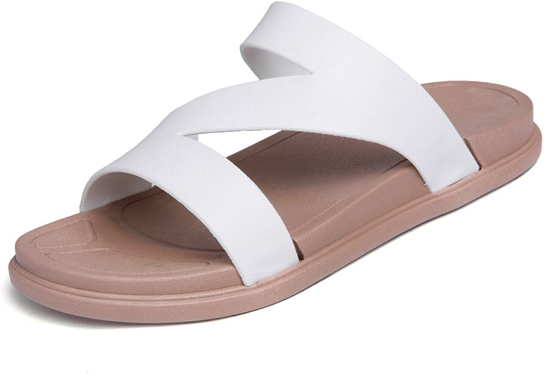 Mens Sandals, Women and Men's Fashion Slipper Flat Heel Strap Slip On Camel shoes (color   White, Size   7.5MUS)