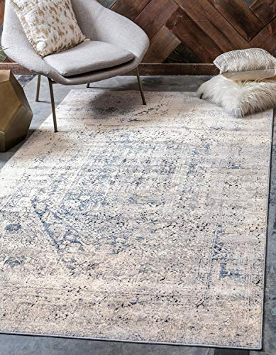 Unique Loom Chateau Collection Distressed Vintage Traditional Textured Area Rug, 9 x 12 Feet, Navy Blue/Beige