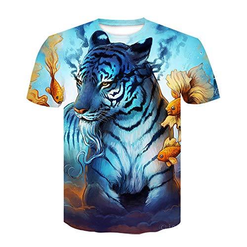 ASHGNV Blue Tiger Camiseta para Hombre con Estampado en 3D, Camisetas Informales de Verano de Secado rápido, Novedad, Camiseta de Manga Corta-XL