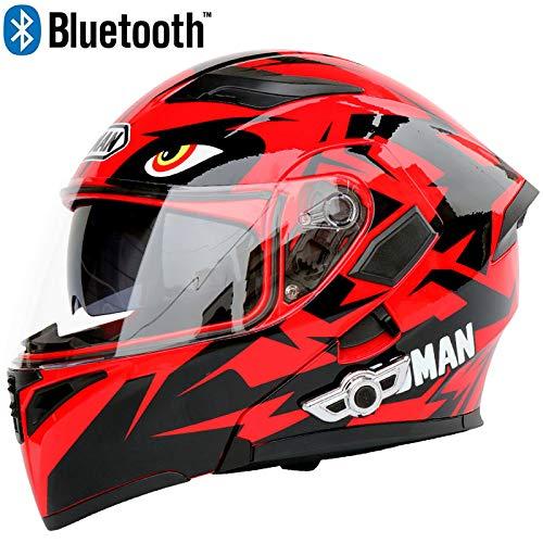 Leaf&Y Modularer Bluetooth-Smart-Motorradhelm, Anti-Fog-Doppelvisier-Klapphelm, Offroad-Motorrad-Motorroller-Rennhelm, Automatische Rufannahme/Musik,M