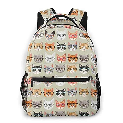Jupsero Mochila para hombres, mujeres, gafas de sol, gatos, mochila informal, mochila de viaje, mochila escolar, mochila