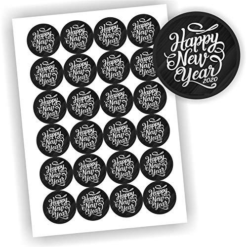 Play-Too 24 Aufkleber rund Happy New Year 2021 Schwarz Etikett Fest Geschenk Geschenkaufkleber DIY