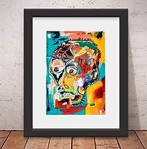 Quadro Decorativo Basquiat Style Banksy Vidro & Paspatur 46x56cm Ss00