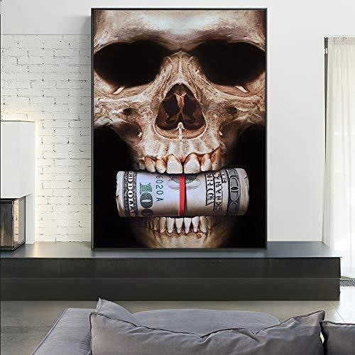 SADHAF Art Canvas Abstracte druk schedel met geld wand canvas schilderij woonkamer decoratie schilderij muurschildering 40x50cm (kein Rahmen) A2