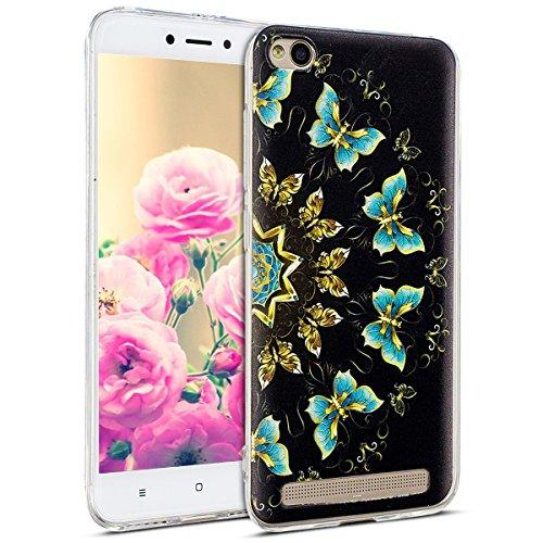 Uposao Kompatibel mit Hülle Xiaomi Redmi 5A Silikon Handyhüllen Schöne Muster Durchsichtige Ultradünn Schutzhülle Transparent Silikon Bumper Clear Backcover,Schmetterling
