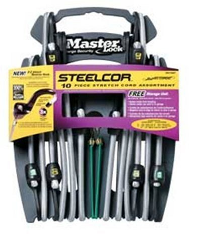 Master Lock 3041DAT SteelCor Bungee Cords with Organizer, 10-Pack by Master Lock (English Manual)